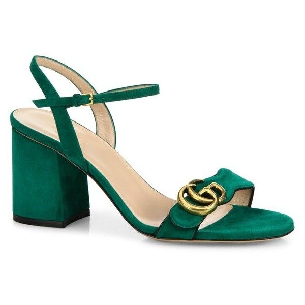 Gucci Marmont Suede Block Heel Sandals (€505) ❤ liked on Polyvore featuring shoes, sandals, heels, green, block-heel sandals, block shoes, block heel sandals, color block shoes and green sandals