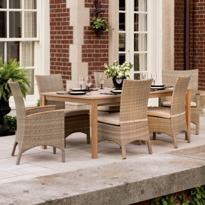 Torbay Outdoor Wicker Rectangle Patio Dining Set 7 Piece for $2,049