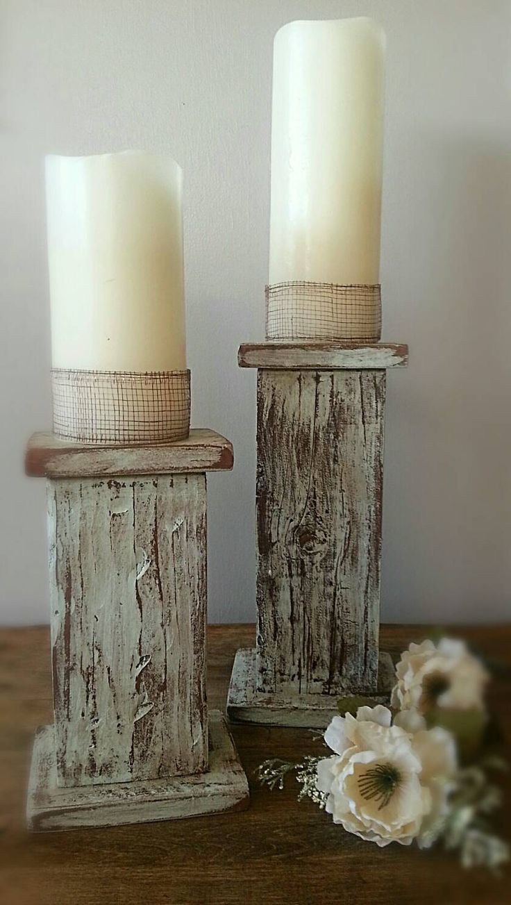Rustic candle pillars, candle holder, wood pillar candle holder, southwestern candle holder, country candle stick by GrayRanch on Etsy