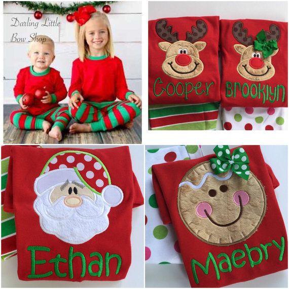 Kerst pyjama--Familie pyjama PRE ORDER - Santa, rendier of peperkoek stoffen - volwassene, baby- en kinder maten