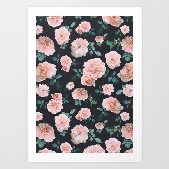 Light pink vintage roses pattern, photographed and designed on a grey background. Romantic and lovely!