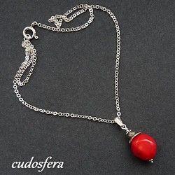 Naszyjnik z koralem wykonany ze srebra #koral #silver www.cudosfera.pl