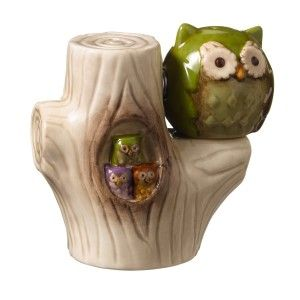 Owl in Tree This wise owl will look cute on any kitchen table. Made of high gloss ceramic and measures 2 7/8 Inch tall, 3 Inch long and 1 3/4 Inch wide. http://theceramicchefknives.com/owl-salt-and-pepper-shakers/  baby shower favors, Big Sky Carvers Owl salt and pepper shakers, Cozy Owls Magnetic Ceramic Salt and Pepper Shaker Set, Cozy Owls Magnetic Salt and Pepper Shaker Set, Grasslands Road Owl in Tree Magnetic Salt and Pepper Shaker Set
