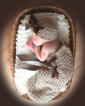 Knit Crochet baby Cocoon set photography prop by mybabybooties, $35.00
