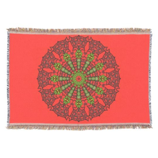 3D Art Mandala Throw Blanket by www.zazzle.com/htgraphicdesigner* #zazzle #throw #blanket #throwblanket #red #homedecor #gift #giftidea #mothersday