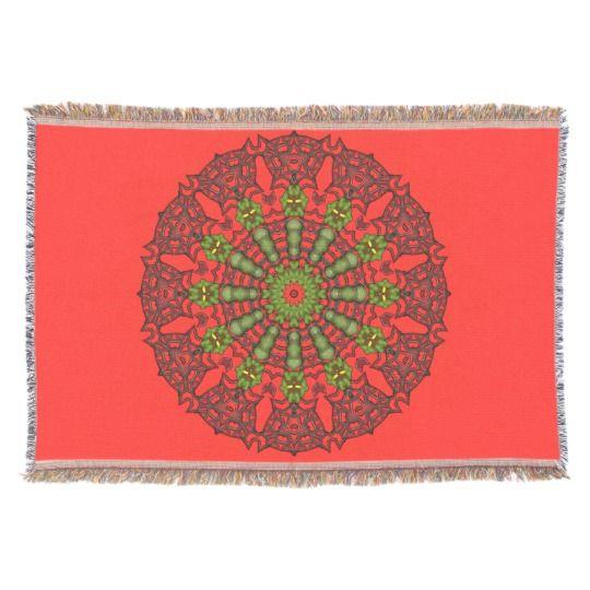 3D Art Mandala Throw Blanket by www.zazzle.com/htgraphicdesigner* #zazzle #throw #blanket #red #gift #giftidea #abstract #mandala #kaleidoscope #homedecor #mothersday