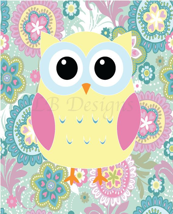 Yellow Pink and Blue Owl with Floral Background por LJBrodock, $10.00