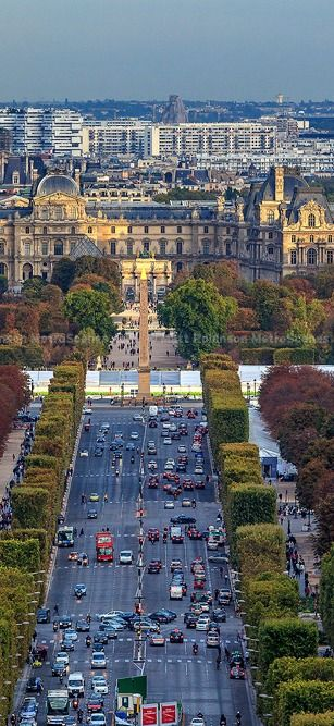 The Louvre Museum and Champs-Élysées from the Arc de Triomphe, Paris, France…