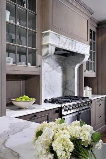 marbleDreams Kitchens, Kitchens Design, Cabinets Colors, Grey Kitchens, Range Hoods, Gray Cabinets, Modern Kitchens, Grey Wash, Kitchens Cabinets