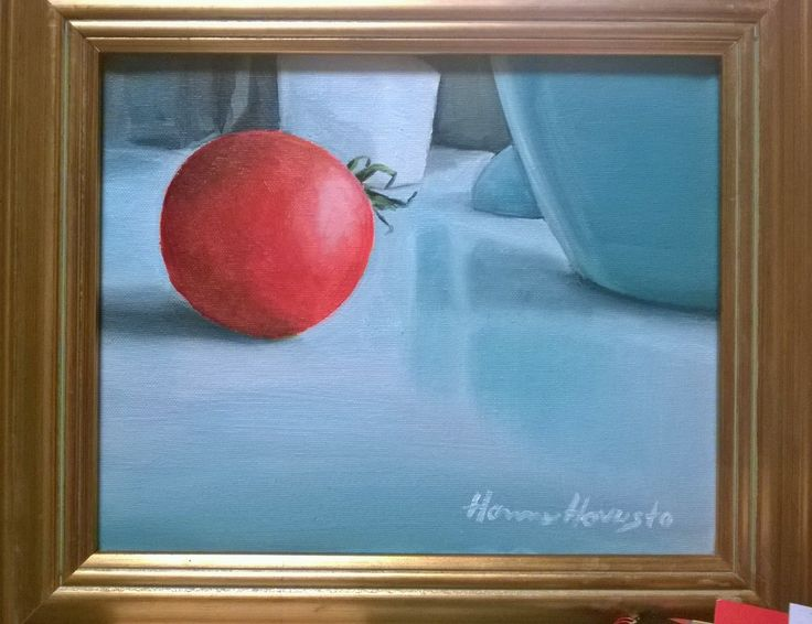 Tomato in side lightning; Oil painting 22x27 cm