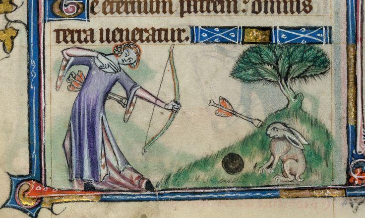 """""""kill the wabbit, kill the wabbit, kill the wabbit lalalaaa"""" - ciekawe że strzała nie jest ostra tylko """"głusząca"""" - Taymouth Hours, England, S. E. (London?), 2nd quarter of the 14th century: London, British London, MS Yates Thompson 13, f. 68v."""