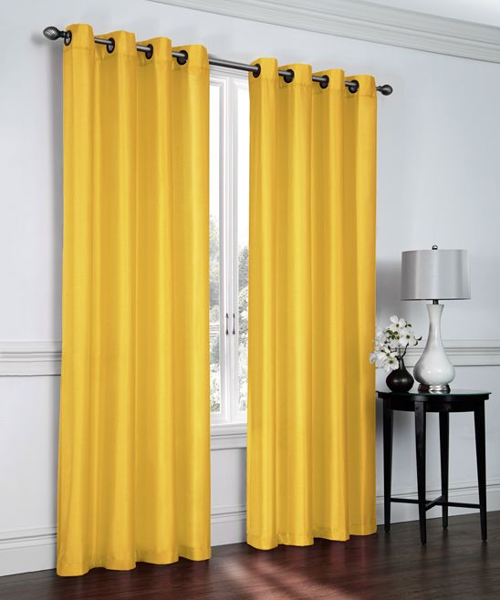 Yellow Faux Silk Curtain Panel - Set of Two