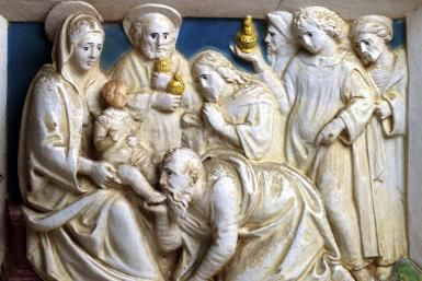 God Reveals Himself to Us: The Epiphany of Our Lord Jesus Christ: Adoration of the Magi, detail from Predella of the Last Judgement, 1501, by Giovanni Della Robbia (1469-1529). Church of San Girolamo at Volterra, Tuscany.
