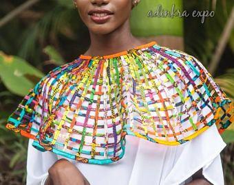 collar de declaración / africano collar / collar de ankara / poncho / Cabo / collar del cabo / joyería ankara, joyería africana, cera impresión