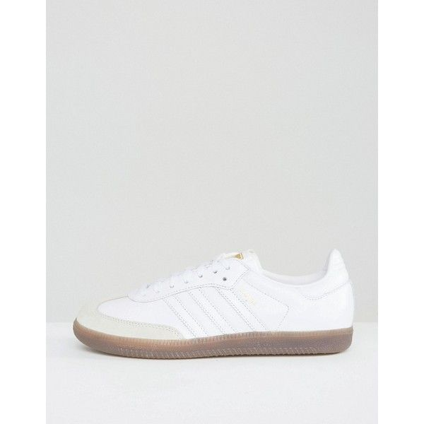 adidas Originals White Samba OG Sneakers ($75) ❤ liked on Polyvore featuring shoes, sneakers, white, lace up sneakers, adidas trainers, white trainers, lace up shoes and white lace up shoes