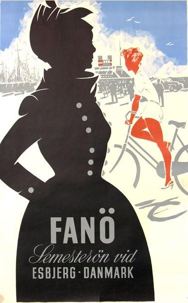 Danish poster, 1940s, Holiday at Esbjerg, Danmark.