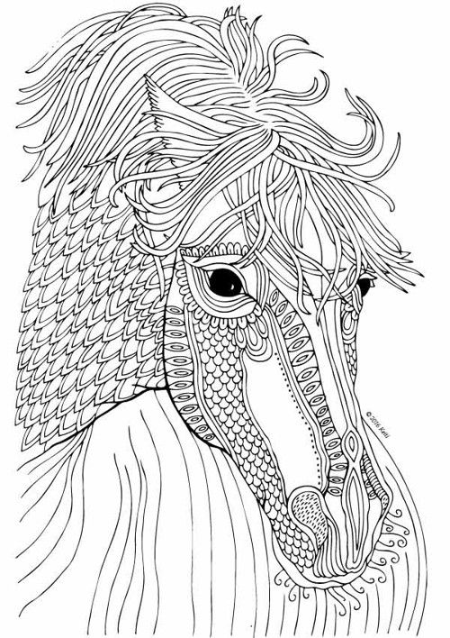 Zentangle Horse Coloring Page