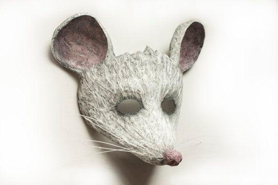 White Mouse Mask Animal Mask Fancy Dress Party by DaceBrakmane