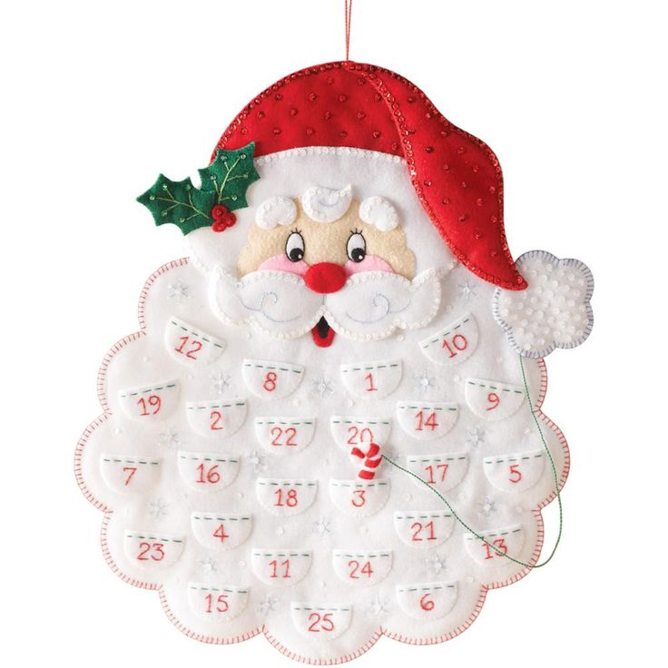 "Santa's Beard Advent Calendar Felt Applique Kit-14.5""X18"""