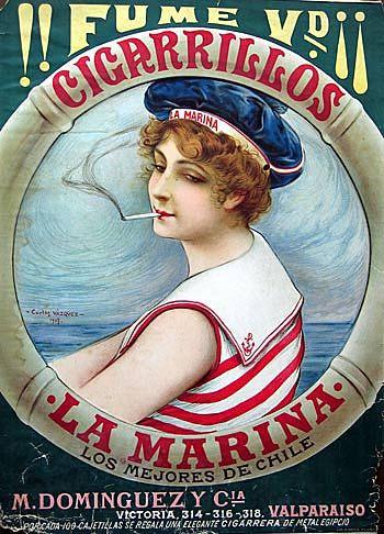 Carlos Vázquez: Anucio de los Cigarrillos 'La Marina' (1907)   Flickr - Photo Sharing!