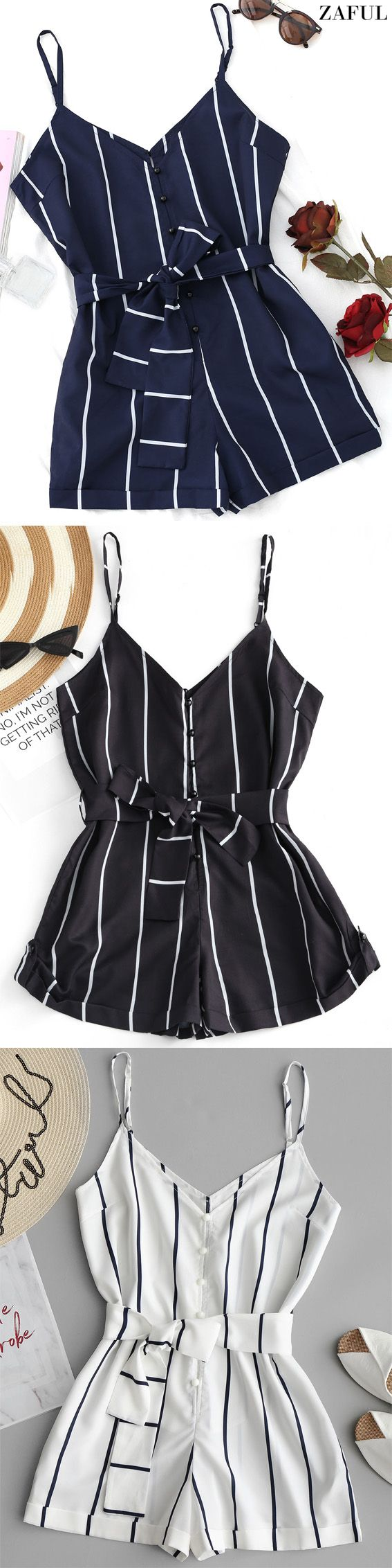 Up to 80% OFF! Striped Belted Cami Romper. #Zaful #Twopieces #Tops zaful,zaful outfits,zaful tops,spring outfits,summer dresses,easter,easter outfits,super bowl,st patrick's day,cute,casual,fashion,style,cute rompers, denim jumpsuit, dressy jumpsuits, jumpsuits, pantsuits, petite jumpsuit, playsuits, rompers, sequin jumpsuit, shorts, shorts and tights, skirt, tops, two piece dresses, two piece outfits, bottoms, pants outfits @zaful Extra 10% OFF Code:ZF2017