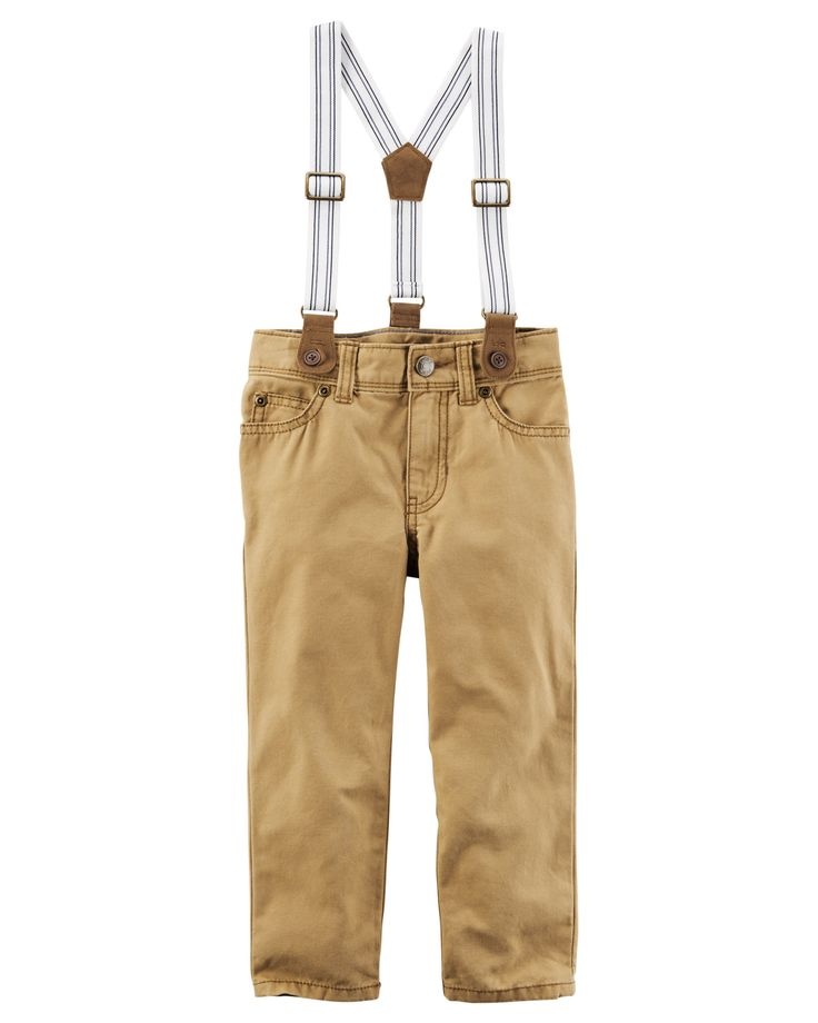 Toddler Boy 5-Pocket Canvas Pants with Suspenders | Carters.com