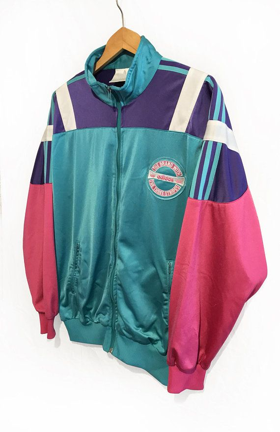 428df0329cfb Vintage 90s Adidas Trefoil Cut and Sew TRACKSUIT jacket Blue Navy  Purple Teal White Size L