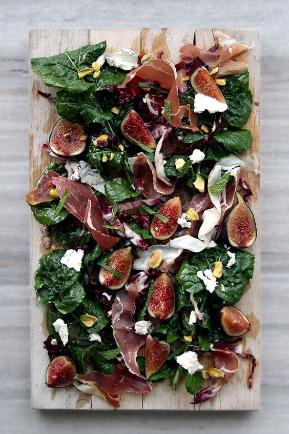 Fig, Arugula Prosciutto, Pistachios, and Humboldt Fog (Goat Cheese) Salad — it's like a cheese/charcuterie plate in salad form!   The Delicious Life