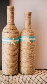Twine Wrapped Wine Bottles-something to do with all of my Walden Farms syrup and dressing bottles.