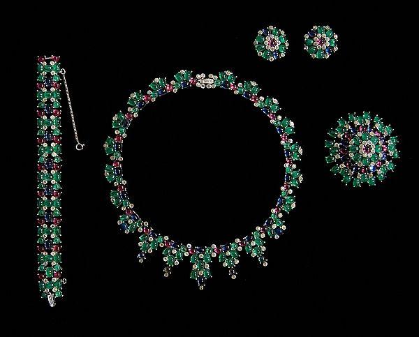 Jomaz (American, 1955-65). Glass, metal, rhinestones. The Metropolitan Museum of Art, New York. Brooklyn Museum Costume Collection at The Metropolitan Museum of Art, Gift of the Brooklyn Museum, 2009; Gift of Barbara Wriston, 1991 (2009.300.6045a–e).