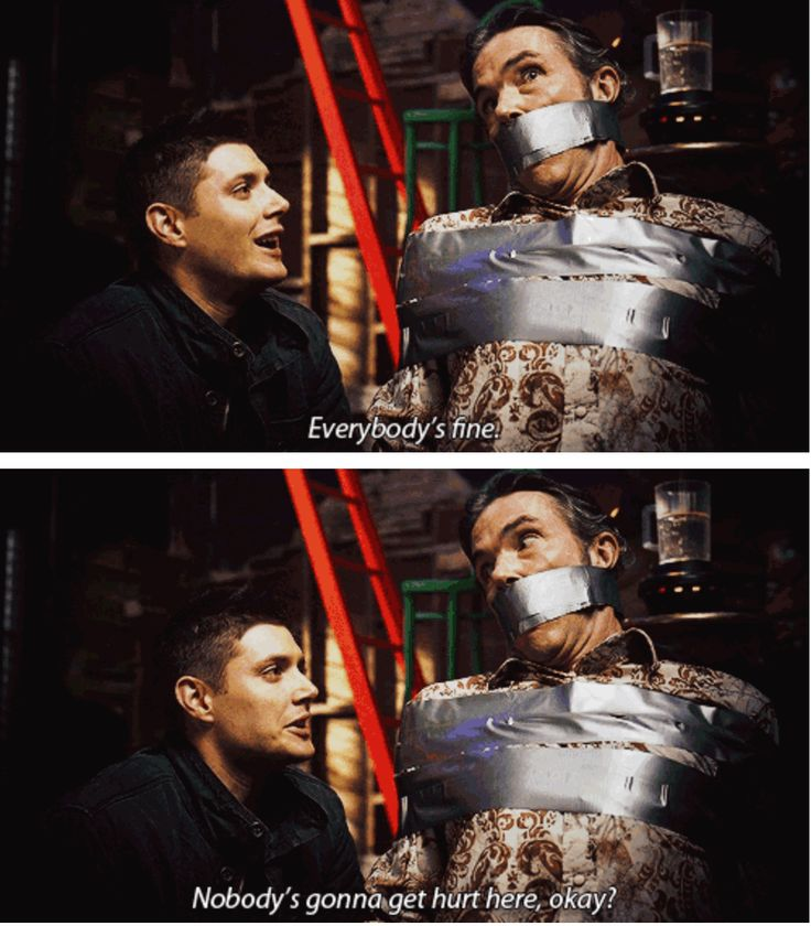 [SET OF GIFS] 3x11 Mystery Spot hahaha I think this was my favorite one, when they were fighting over the axe with a guy tied up