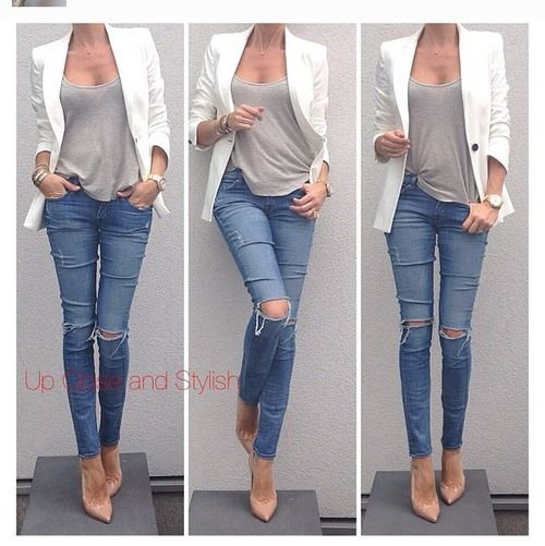 ripped jeans | nude pumps | white blazer