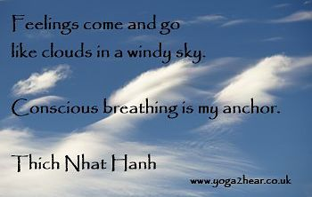 Feelings come and go like clouds in a windy sky.  Conscious breathing is my anchor.  Thich Nhat Hanh