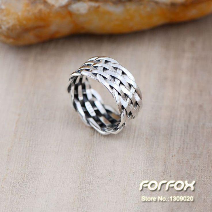 Barato 925 de prata 11 mm grande trançado de tecido banda polegar para homens tamanho 8 9 10 frete grátis, Compro Qualidade Anéis diretamente de fornecedores da China:                                                                                                                  C