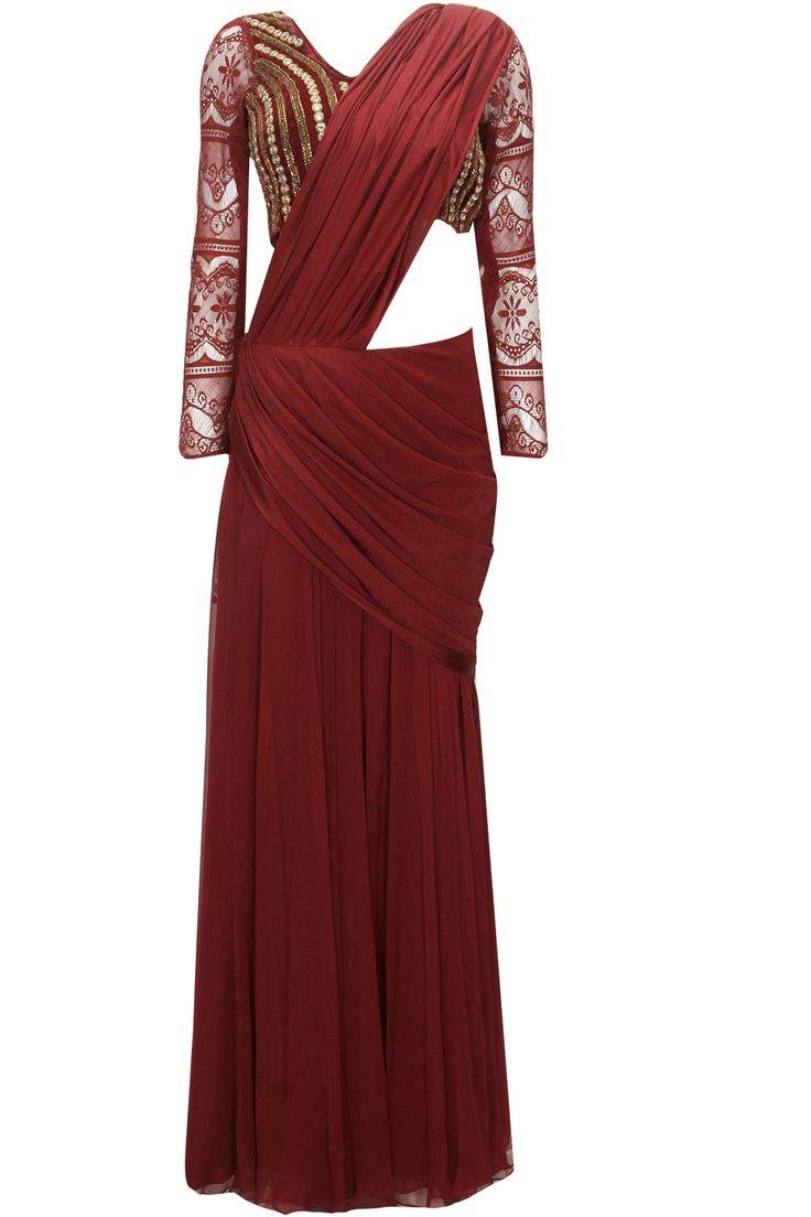 Bridesmaids - Crimson red pre stitched sari with embroidered blouse available only at Pernia's Pop-Up Shop.