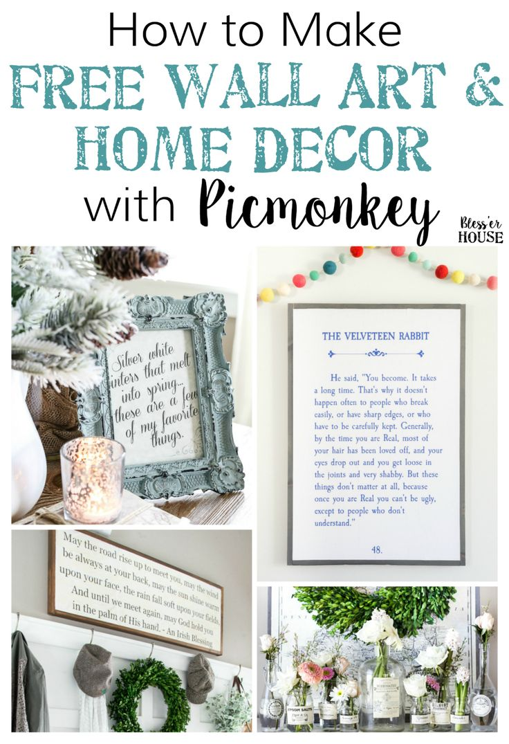 How to Create Free Wall Art and Home Decor with Picmonkey   blesserhouse.com - A simple tutorial for how to create free wall art and home decor with Picmonkey quickly and easily from your own printer, plus a full printable library of ideas.