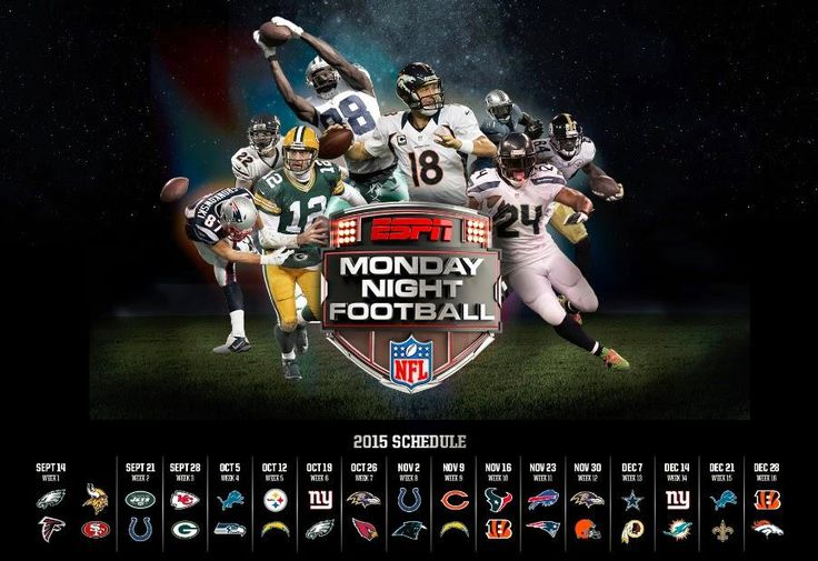 Monday Night Football is typically the most anticipated game each week. Here's a look at the full schedule for 2015's slate of #MNF matchups.