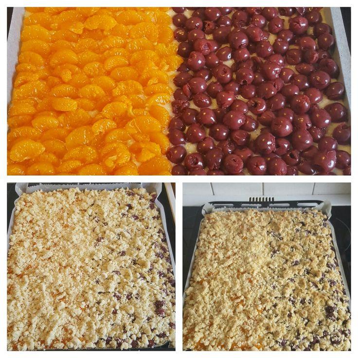 Mandarinen-Kirsch Streuselkuchen