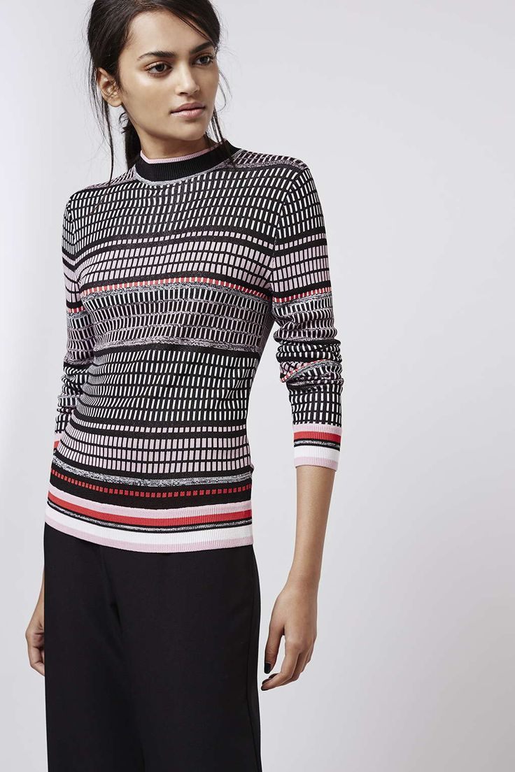 Brick Knit Funnel Neck Jumper - Knitwear - Clothing - Topshop