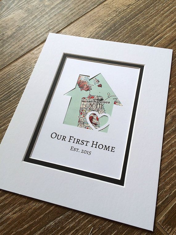 """Our First Home"" Personalized Home Map - Matted Gift by HandmadeHQ"