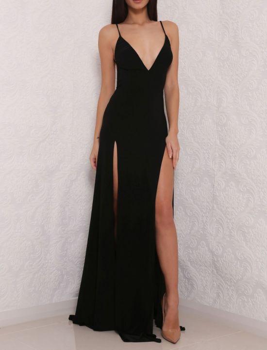Sexy Backless Black Prom Dress,High Slit Chiffon Prom Dresses,Long Evening Dress,V Neck Evening Gowns by fancygirldress, $130.00 USD