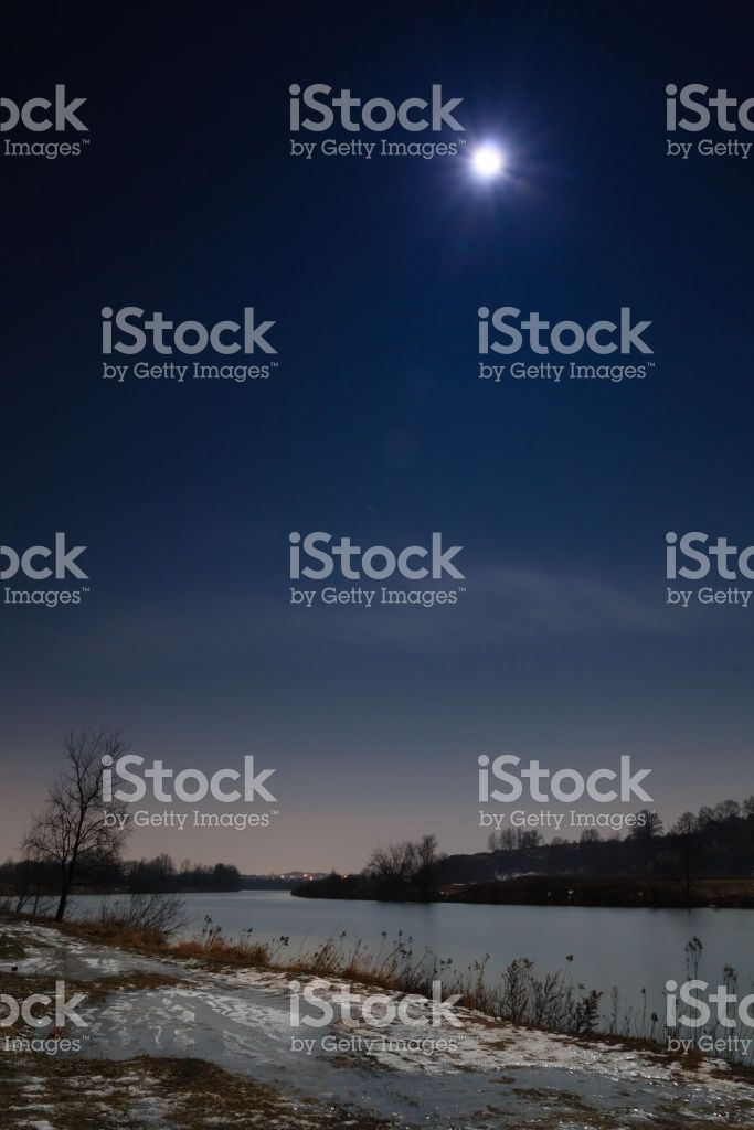 Vistula river by night near Tyniec, Krakow, Poland