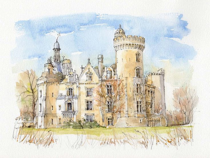 Замок акварель картинки