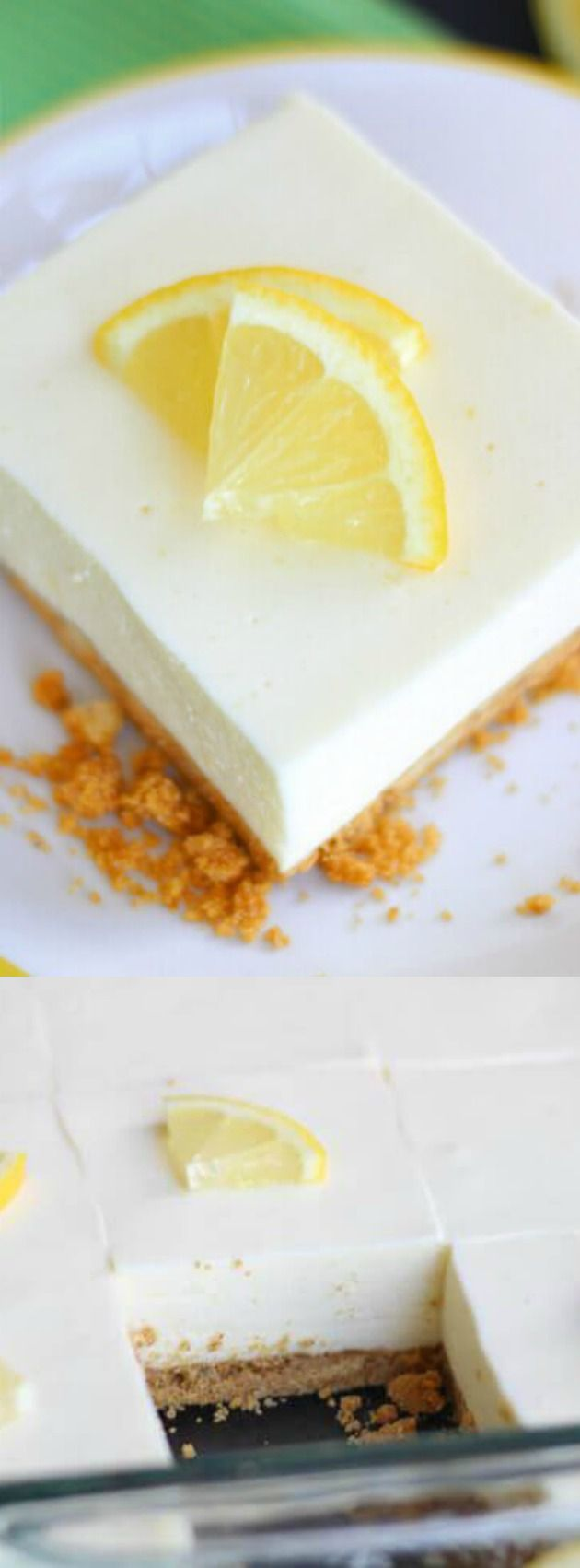 This No-Bake Lemon Jello Cheesecake recipe from Leesh & Lu's Recipe Box is light, lemony and has the perfect buttery, sugary graham cracker crust!