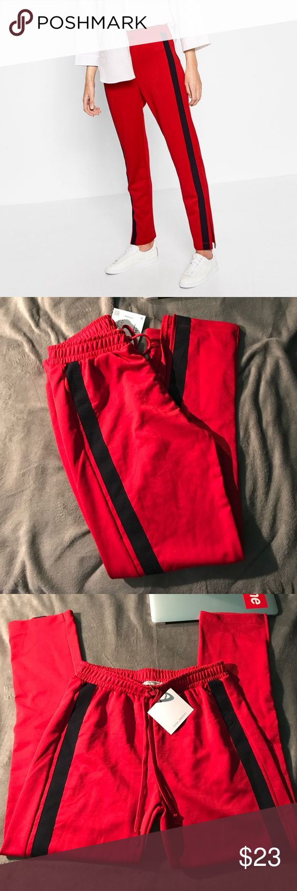 Side Stripe Jogger Trousers Zara red jogger trousers with black side stripe side band in a medium ❤️ this item has never been worn and the tag is still attached. Zara Pants Track Pants & Joggers