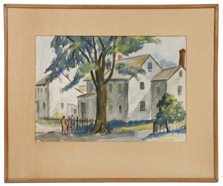 ANN (MCNULTY) BROCKMAN (CA/MA, 1899-1943) - Finntown, 1932, watercolor on Arches paper, signed. #auction #onlineauction #antique #antiques #antiquefinds #antiquesforsale #antiquedecor #auctionfinds #thomastonplace #auctionhouse #maineantiques #maineauction #artauction #fineart #watercolor #watercolorpainting #archespaper #annmcnultybrockman #annbrockman #2dart #painting #antiqueart