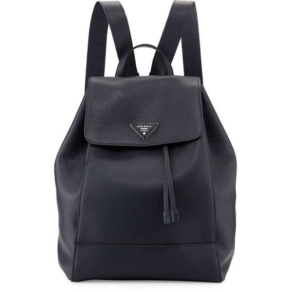 Prada Vitello Daino Backpack ($2,390) ❤ liked on Polyvore featuring bags, backpacks, dark blue, drawstring backpack bags, drawstring bag, triangle bag, flap bag and logo bags