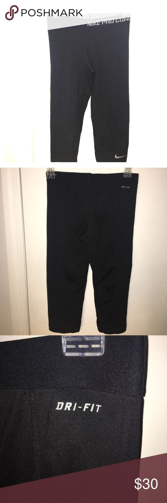NIKE PRO COMBAT CAPRI LEGGINGS Amazing cropped leggings. Size-SMALL. Compression. Great for cycling and other sweaty workouts. VERY GOOD CONDITION. Nike Pants Capris
