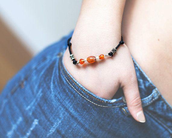 Amber Beaded Bracelet Beaded Bracelet Black by Wildbeautyjewelry