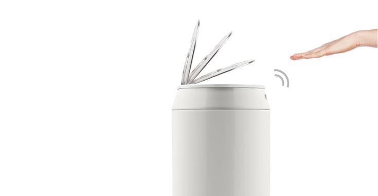 Sensé Can Touch-Free Bin 43L in white | MADE.com